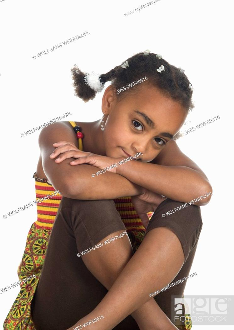 Stock Photo: African girl 6-7, portrait.