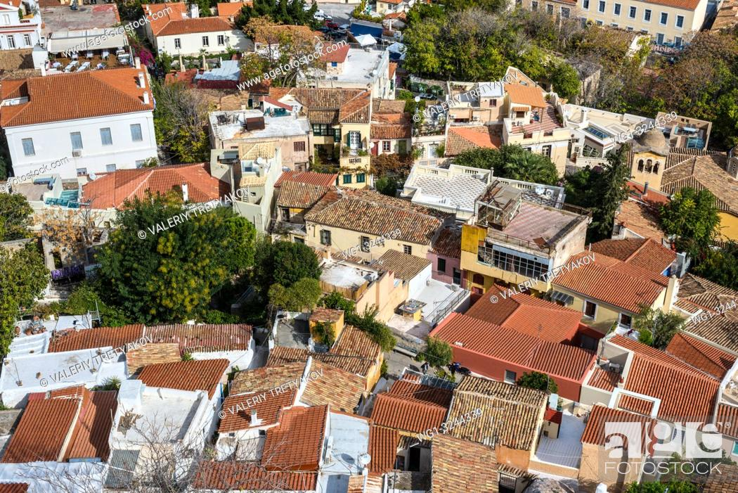 Stock Photo: View of Athens from Acropolis with mass of houses, buildings, apartments, rooftops in the city center of Greek capital, Greece.