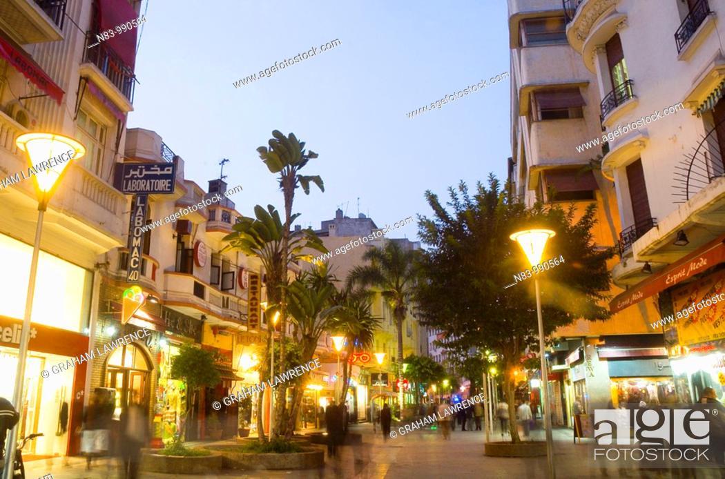 Stock Photo: Rue du Prince Moulay Abdellah, Casablanca, Morocco, Africa.