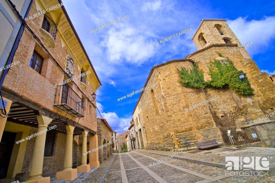 Stock Photo: Church of San Lorenzo, 16th Gothic Style, Yanguas, Soria, Castilla y León, Spain, Europe.