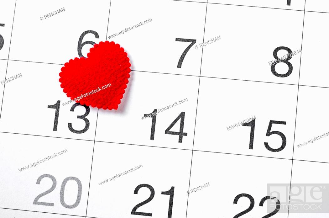 Stock Photo: Close up 14th february date 2019 and red heart for reminder, Valentine concept.