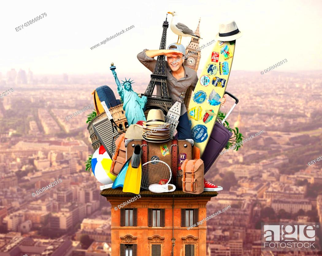 Stock Photo: Tourist on the roof with luggage and landmarks.