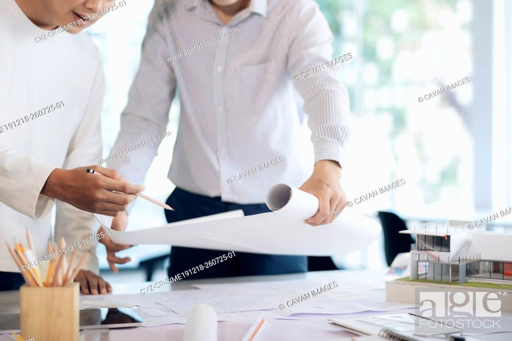 Stock Photo: Engineer meeting for architectural project.