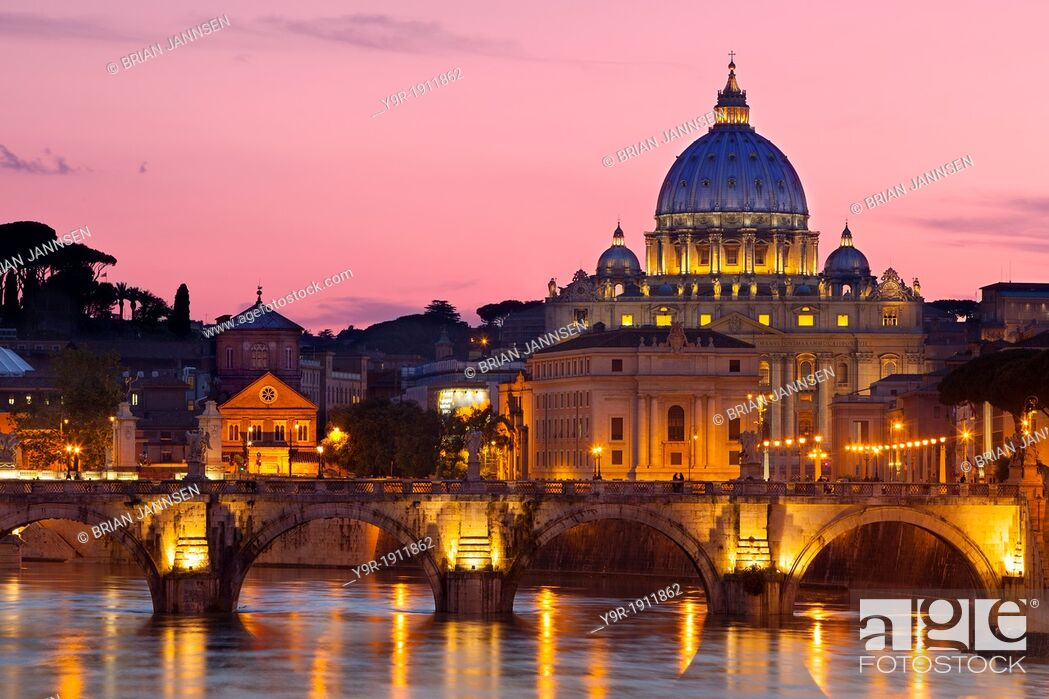Stock Photo: River Tiber, Ponte Sant Angelo and St  Peter's Basilica at dusk, Rome Lazio Italy.