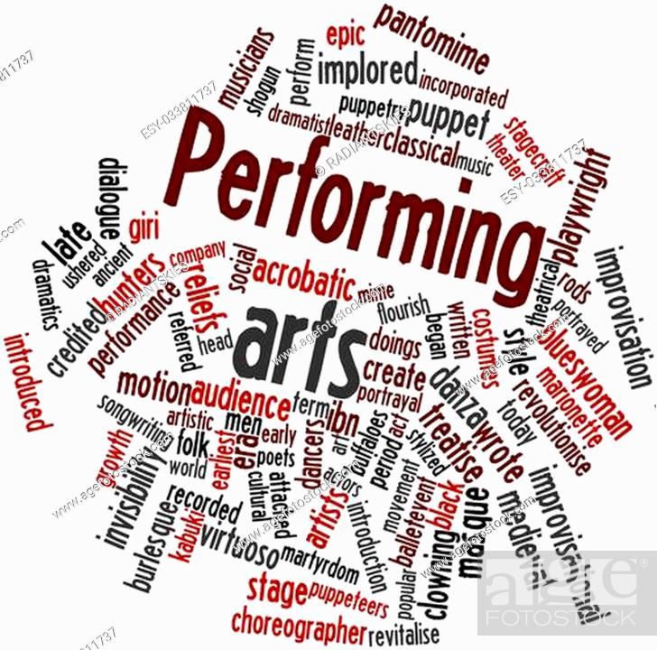 Photo de stock: Abstract word cloud for Performing arts with related tags and terms.