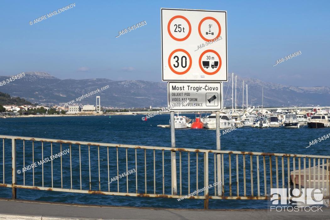 Stock Photo: The bridge to Trogir, Croatia.