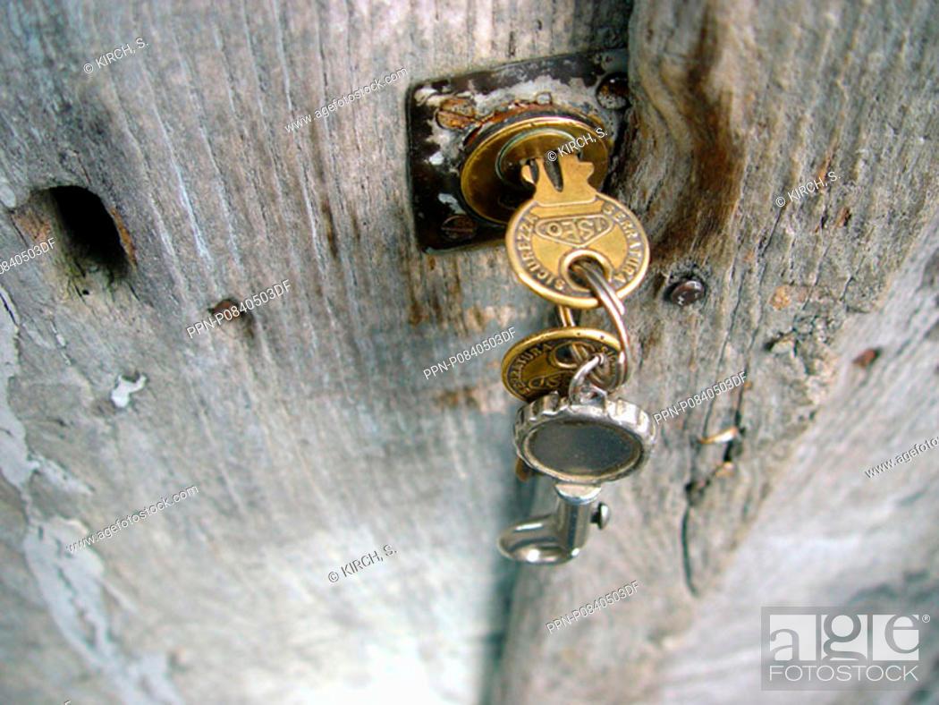 Stock Photo: No People, Outdoors, Castle, Old, Door, Key, Rusty, Closed, Lock, Locked, Peeling, Off