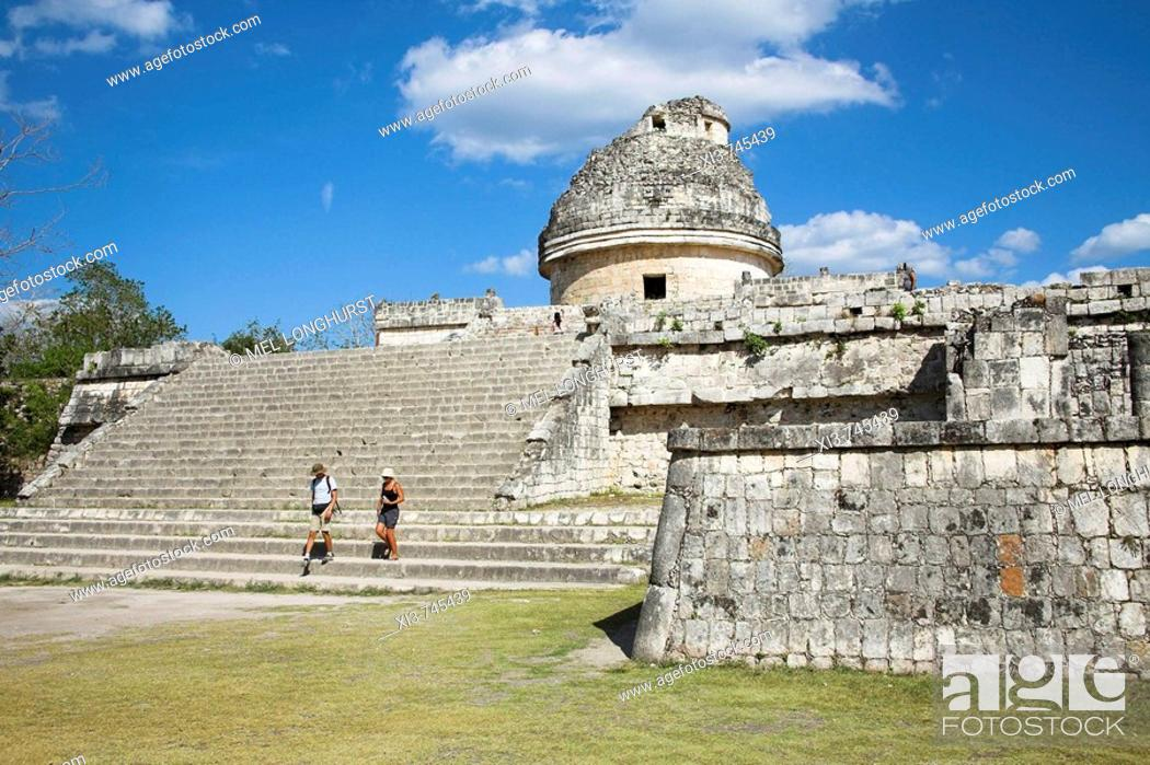 Stock Photo: El Caracol, The Observatory, Chichen Itza Archaeological Site, Chichen Itza, Yucatan State, Mexico.
