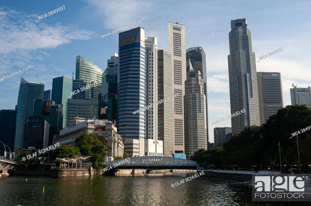 Stock Photo: Singapore, Republic of Singapore, Asia - Cityscape with skyline of the central business district and the skyscrapers around Marina Bay and Raffles Place during.