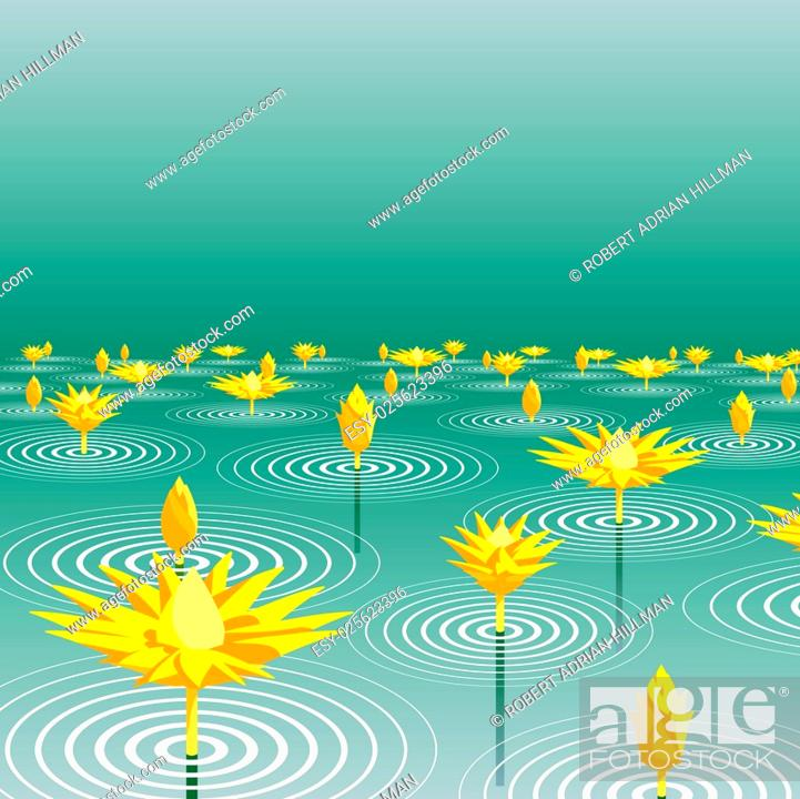 Stock Vector: Editable vector illustration of lotus flowers emerging from a lake.
