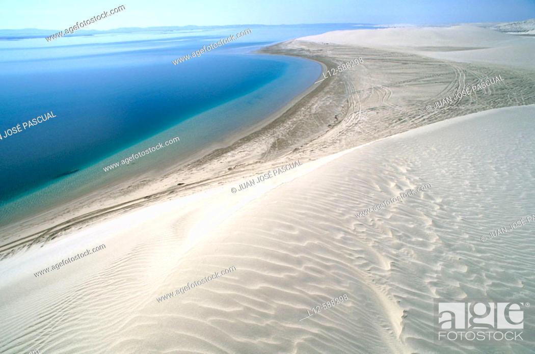 Stock Photo: Dunes and sea. Khor Al Adaid. Qatar.