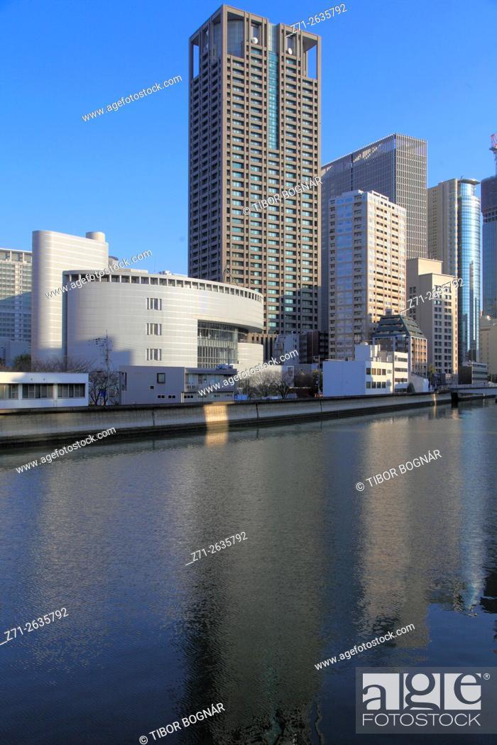 Imagen: Japan, Osaka, skyline, skyscrapers, Dojimagawa River, .