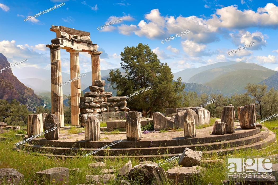 Stock Photo: The circular Delphi Tholos temple with Doric columns, 380 BC, Sanctuary of Athena Pronaia, Delphi Archaeological Site, Greece.