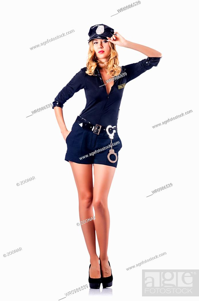 Stock Photo: Woman police in the concept.