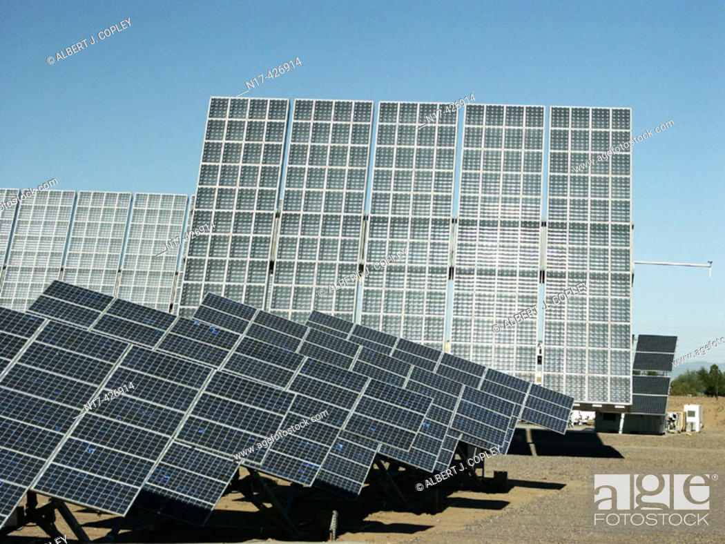 Stock Photo: Photovoltaic array, power supply. Phoenix, Arizona. USA.