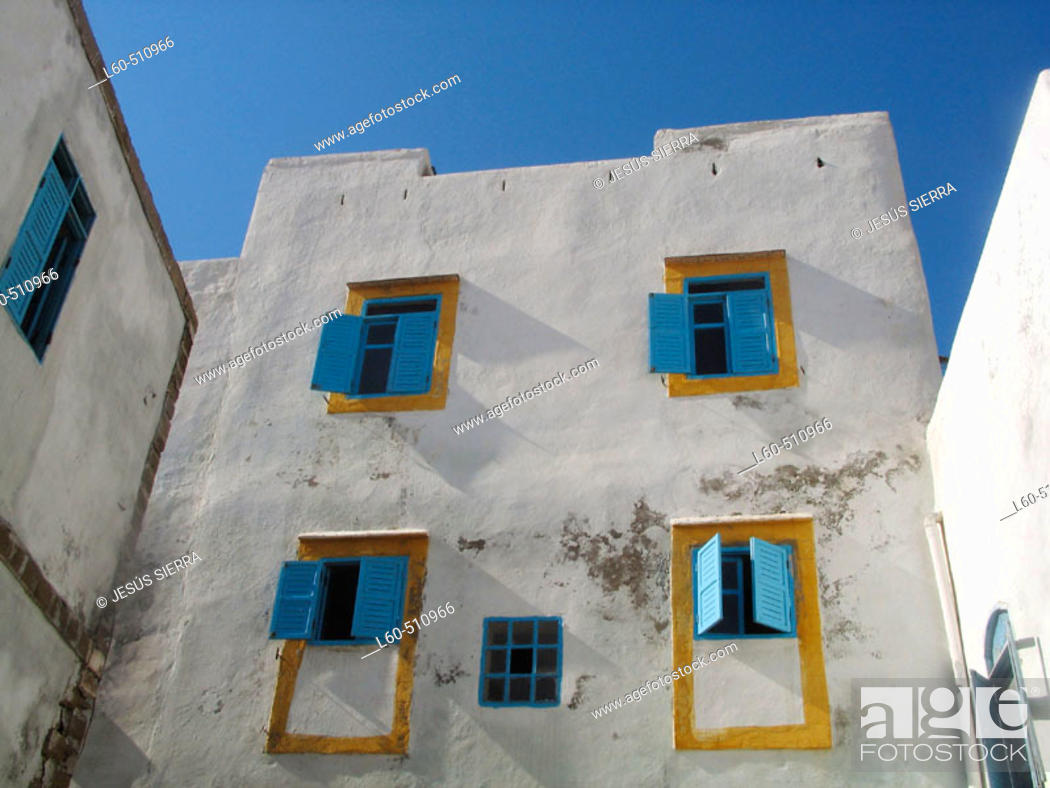 Stock Photo: Windows. Essaouira. Morocco.