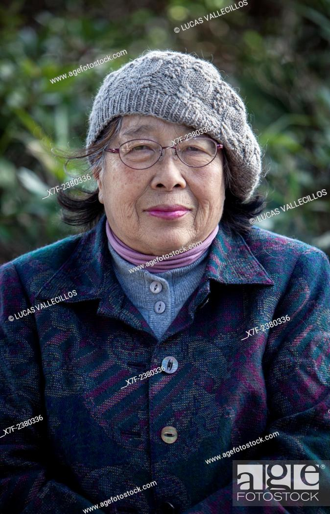Stock Photo: Jyunko Kayasige, born in 1940, a Hiroshima Atomic Bomb Survivor, Hiroshima, Japan.
