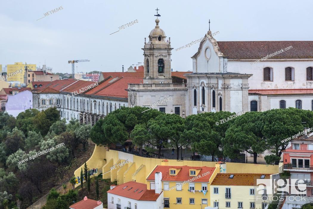 Stock Photo: Aerial view from Castelo de Sao Jorge viewing point in Lisbon city, Portugal with Graca Church and Convent.