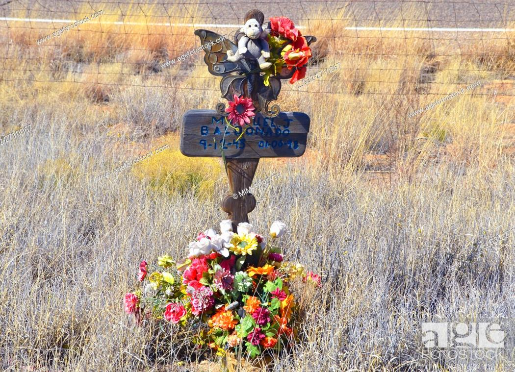 Stock Photo: Roadside memorial to automobile accident victim, New Mexico, USA.
