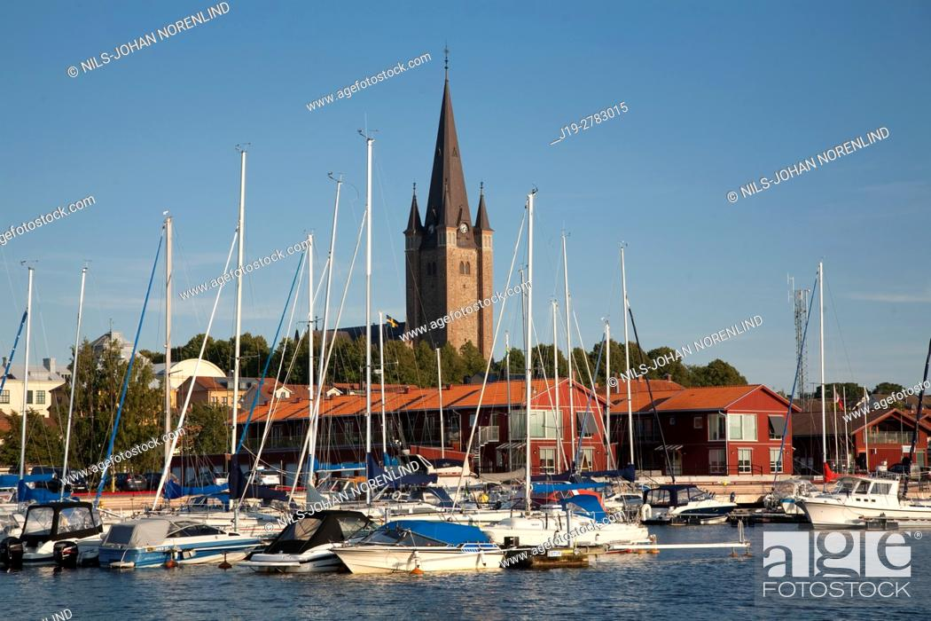Stock Photo: Cathedral by the port, Vänern Mariestad, Sweden.
