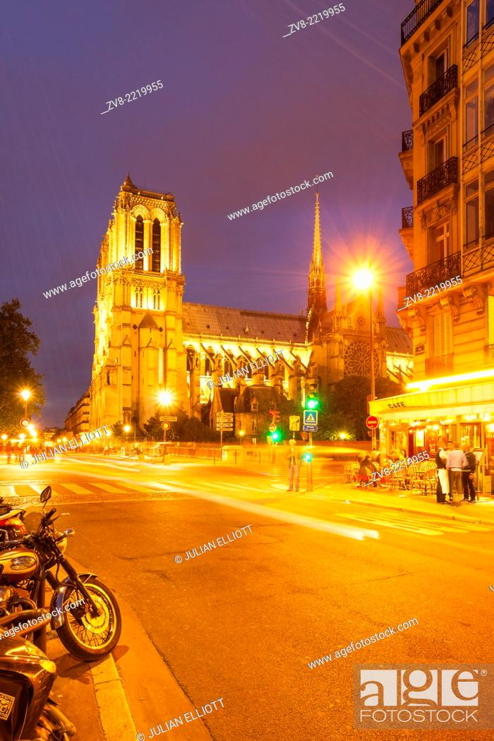 Stock Photo: Notre Dame de Paris cathedral. The cathedral is widely considered to be one of the finest examples of French Gothic architecture and among the largest and most.