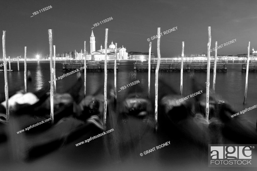 Stock Photo: Gondolas , Canal Guidecia , Venice , Italy.