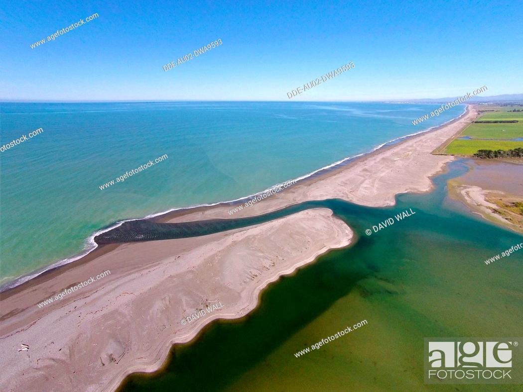 Stock Photo: Opihi River Mouth, near Temuka, South Canterbury, South Island, New Zealand, drone aerial.