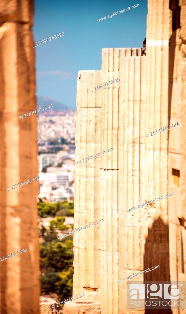 Stock Photo: Greece, Athens, columns in Acropolis.