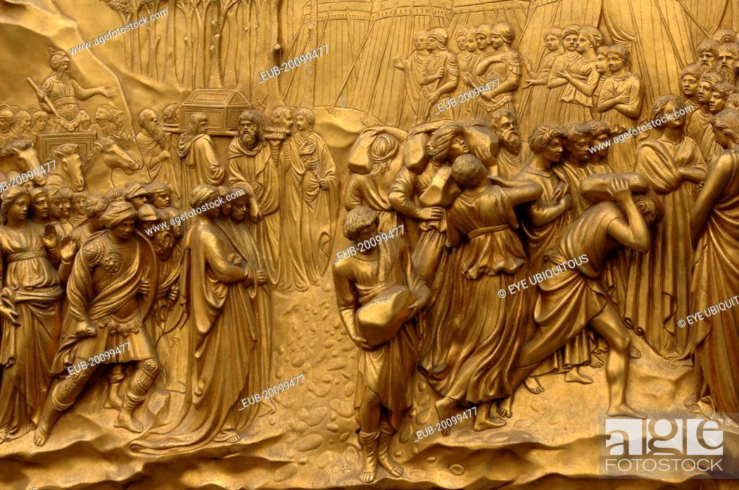 Stock Photo - Bronze Doors with Relief Sculptures by Lorenzo Ghiberti Florence Baptistry Piazza del Duomo & Bronze Doors with Relief Sculptures by Lorenzo Ghiberti Florence ...