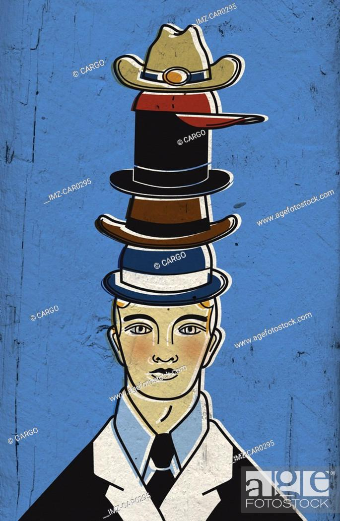 Stock Photo: A man wearing several hats atop one another.