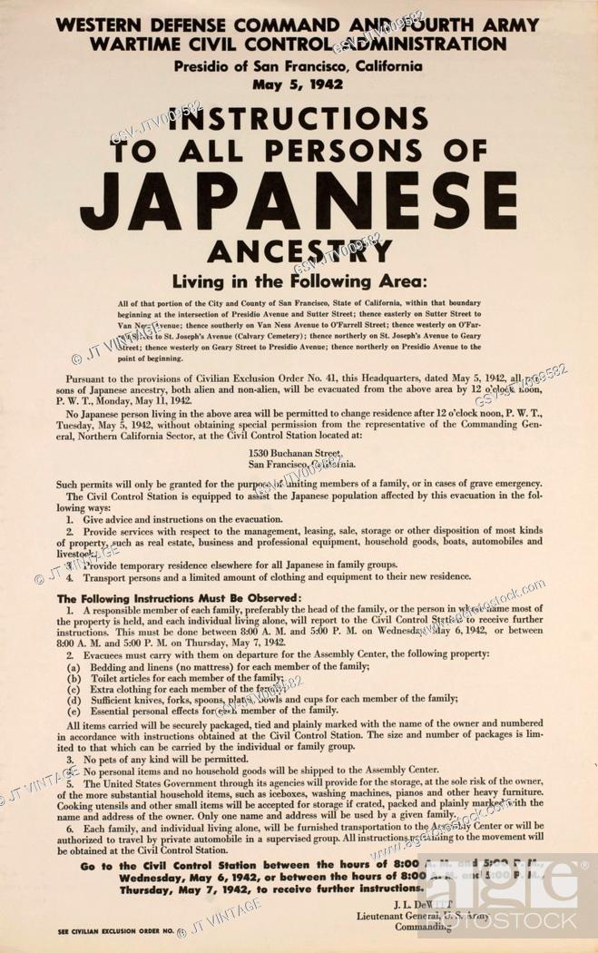 Photo de stock: Civilian Exclusion order #41, Part II, Directing Removal by May 11 of Persons of Japanese Ancestry, 1530 Buchanan Street, San Francisco, California, USA.