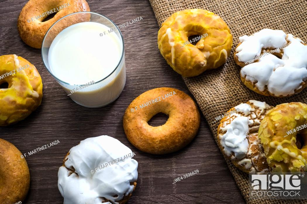 Stock Photo: Donuts of San Isidro with a base of milk.