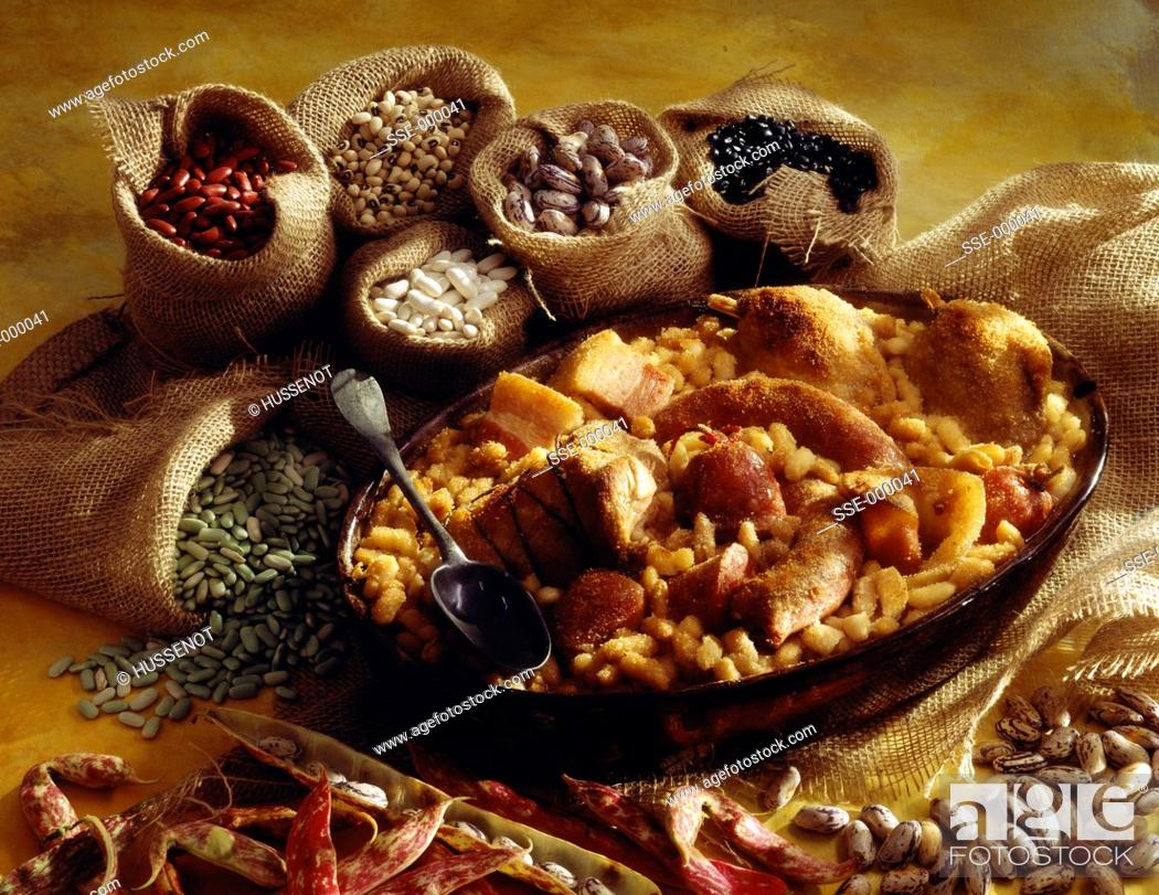 Stock Photo: toulouse cassoulet bean stew.