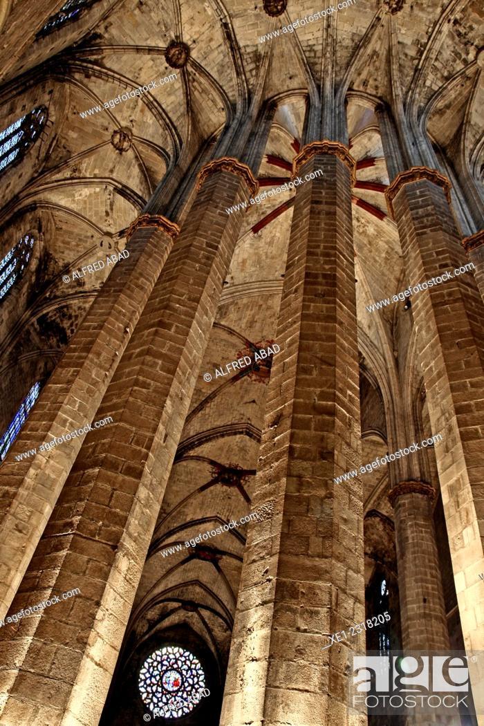 Stock Photo: Basilica of Santa Maria del Mar, Catalan Gothic, Barcelona, Catalonia, Spain.