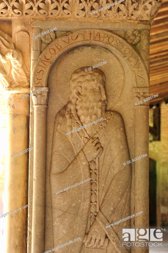 Stock Photo: Saint James, relief on a corner pillar, 1100, cloister of Saint-Pierre Abbey (UNESCO World Heritage Site, 1998), Moissac, Occitanie, France, 12th century.