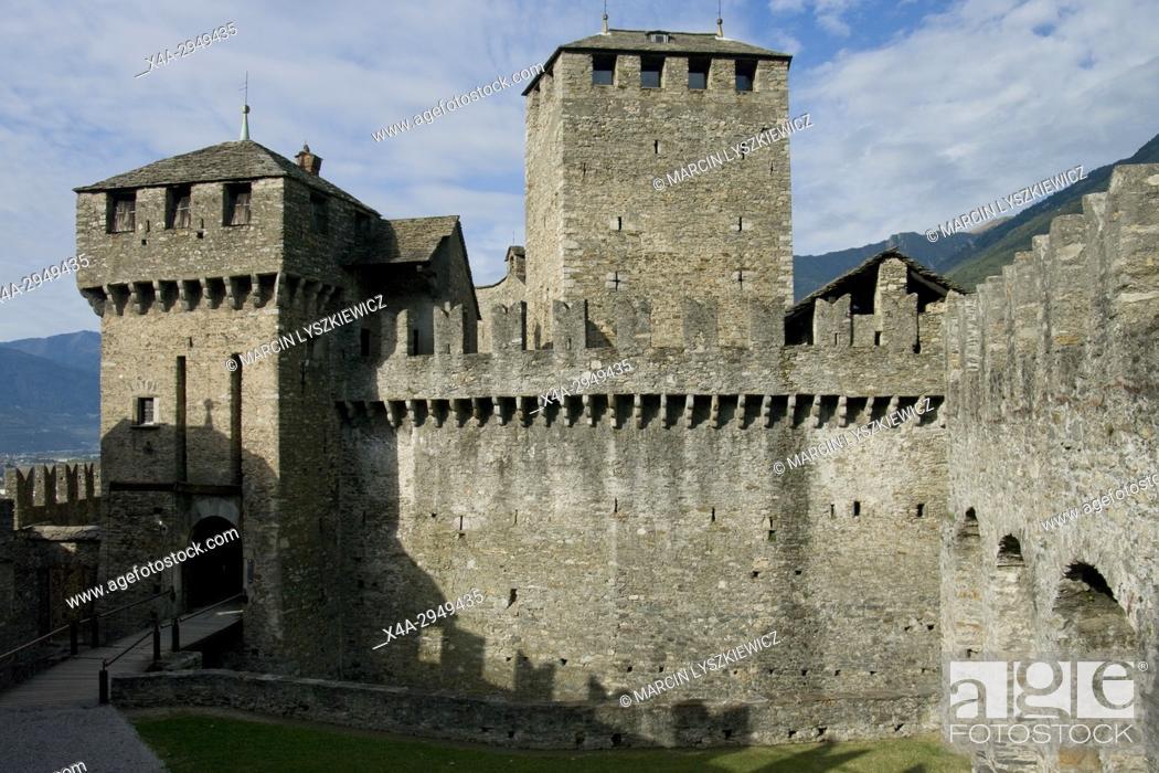Stock Photo: Towers of Montebello Castle in Bellinzona.