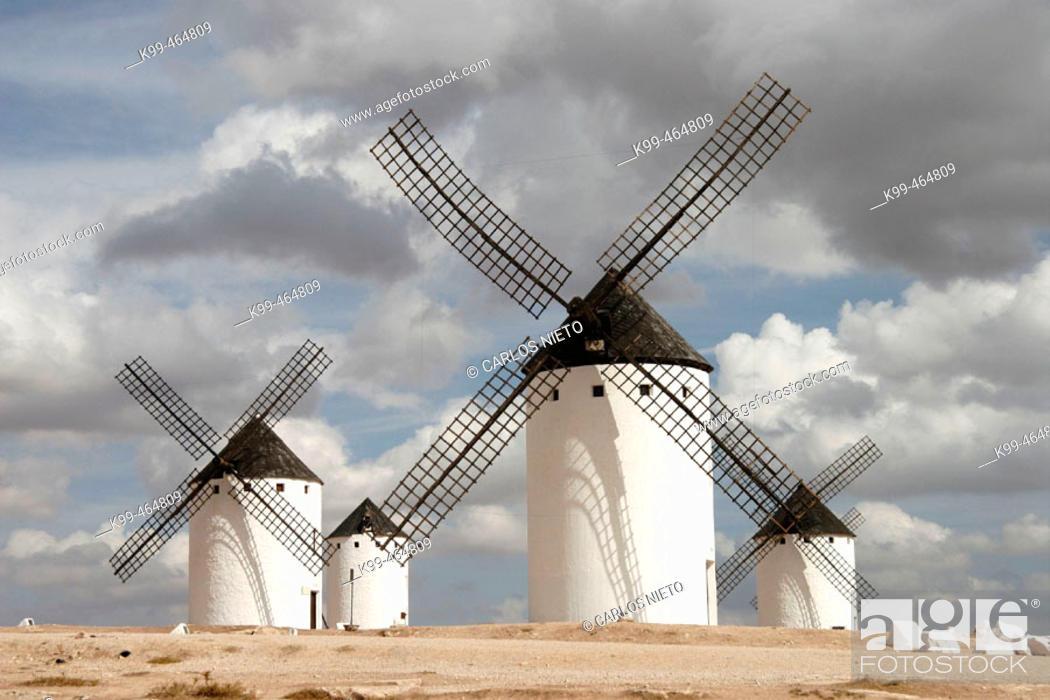 Stock Photo: Windmills, Campo de Criptana. Ciudad Real province, Castilla-La Mancha, Spain.