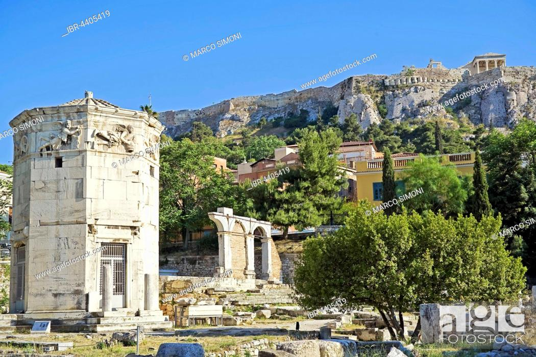 Stock Photo: Roman Agora with tower of the winds, Acropolis in the background, Athens, Greece.
