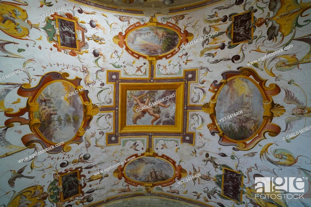 Stock Photo: Frescoes in the Room of landscapes of Torrechiara Castle, Langhirano, Parma, Italy, Europe.