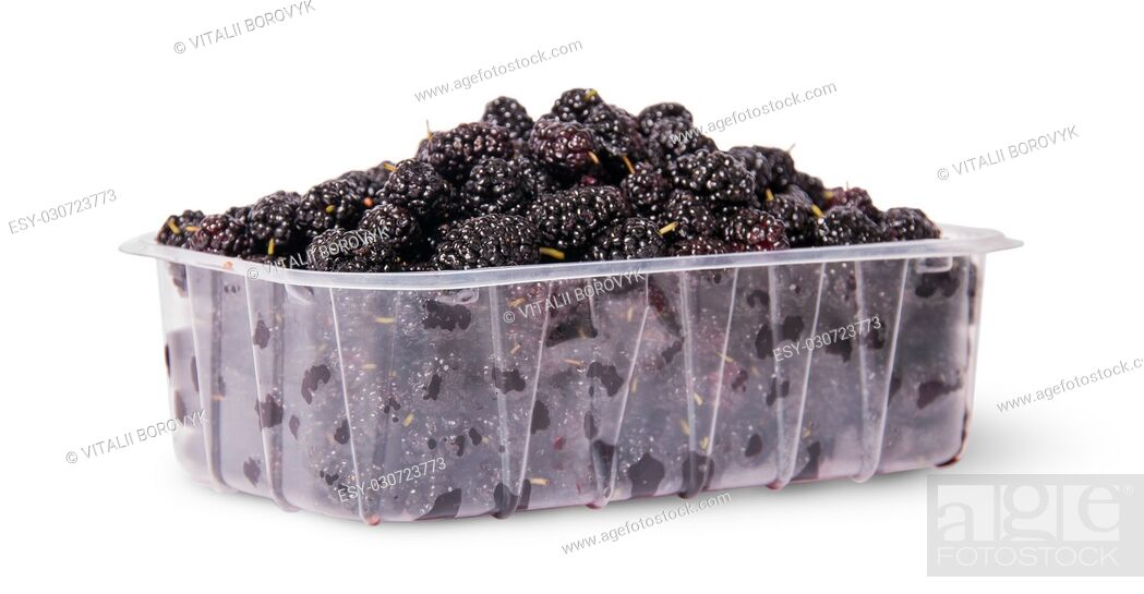 Stock Photo: Mulberry in a plastic tray rotated isolated on white background.