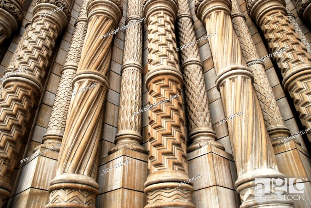 Stock Photo: Close up of ornate Victorian stonework on the exterior of the Natural History Museum, South Kensington, London, England.