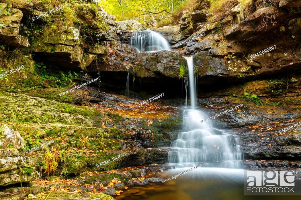Stock Photo: waterfall in Huzmeana creek. Saja-Besaya Natural Park. Cantabria, Spain, Europe.