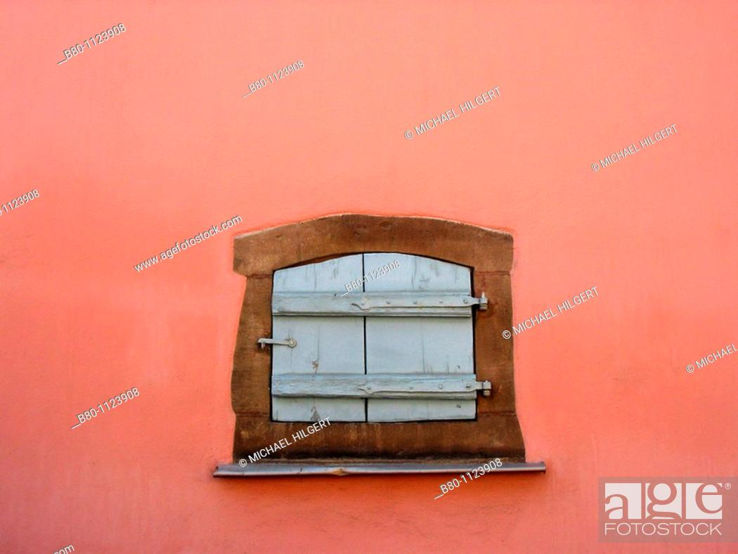 Stock Photo: Window, shutters closed, house wall, outside wall, Eguisheim, France.