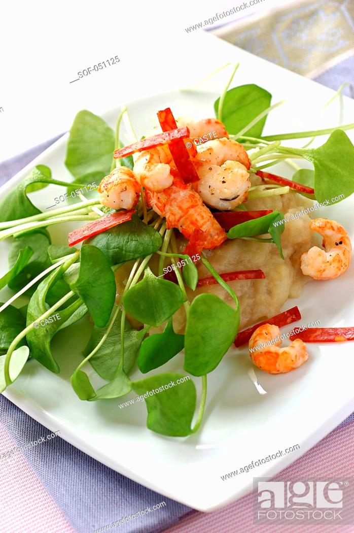 Stock Photo: jerusalem artichoke puree, pan-fried prawns and strips of chorizo.
