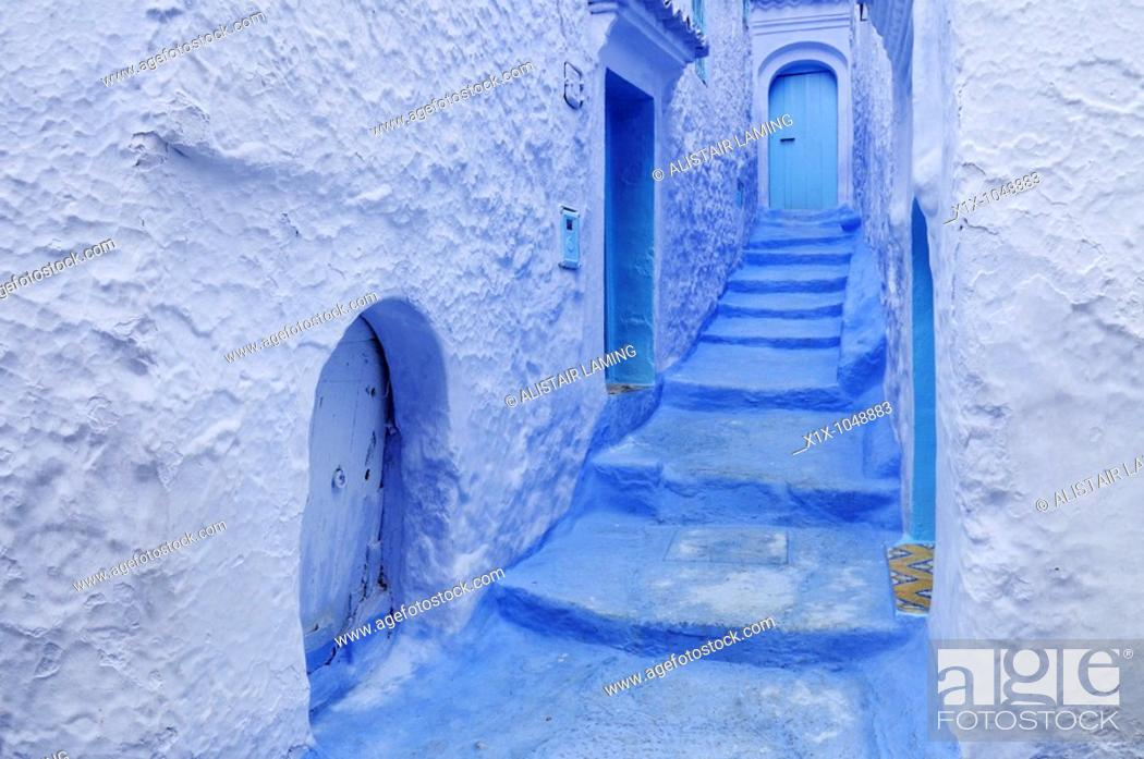 Stock Photo: Blue Doorways and Steps in the Medina, Chefchaouen, Morocco, North Africa.