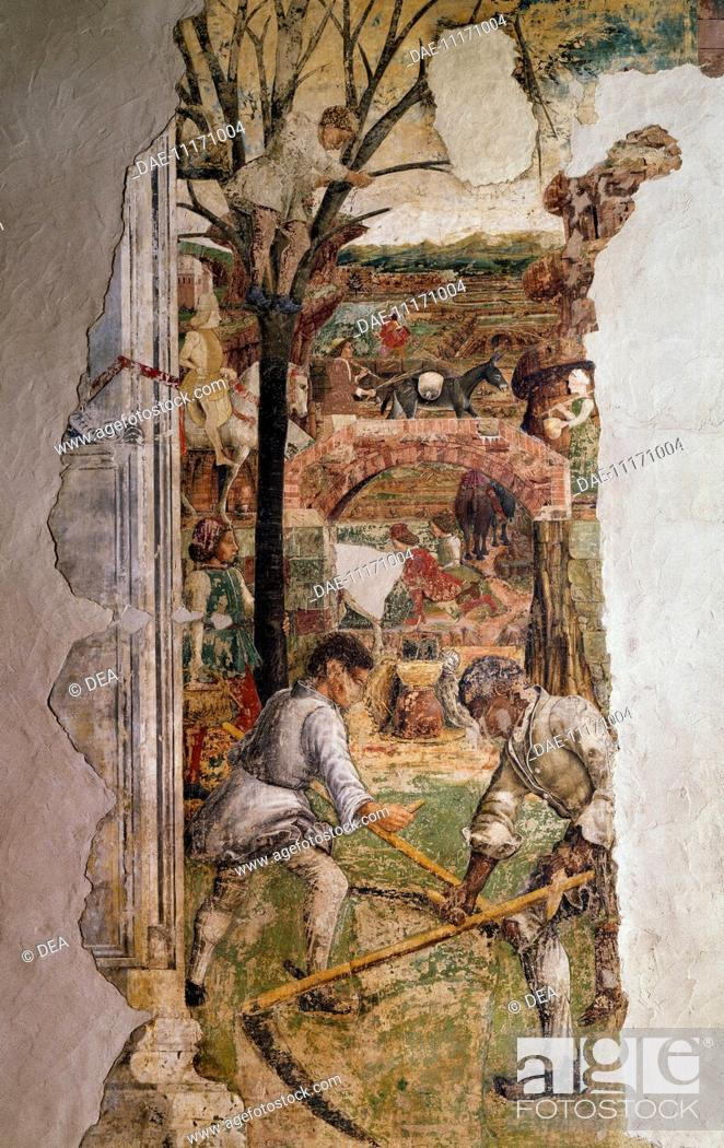 Stock Photo: Farmers at work and the cherry harvest, detail from Sign of Gemini, Month of May, ca 1470, by Francesco del Cossa (ca 1435-1477), fresco, east wall.