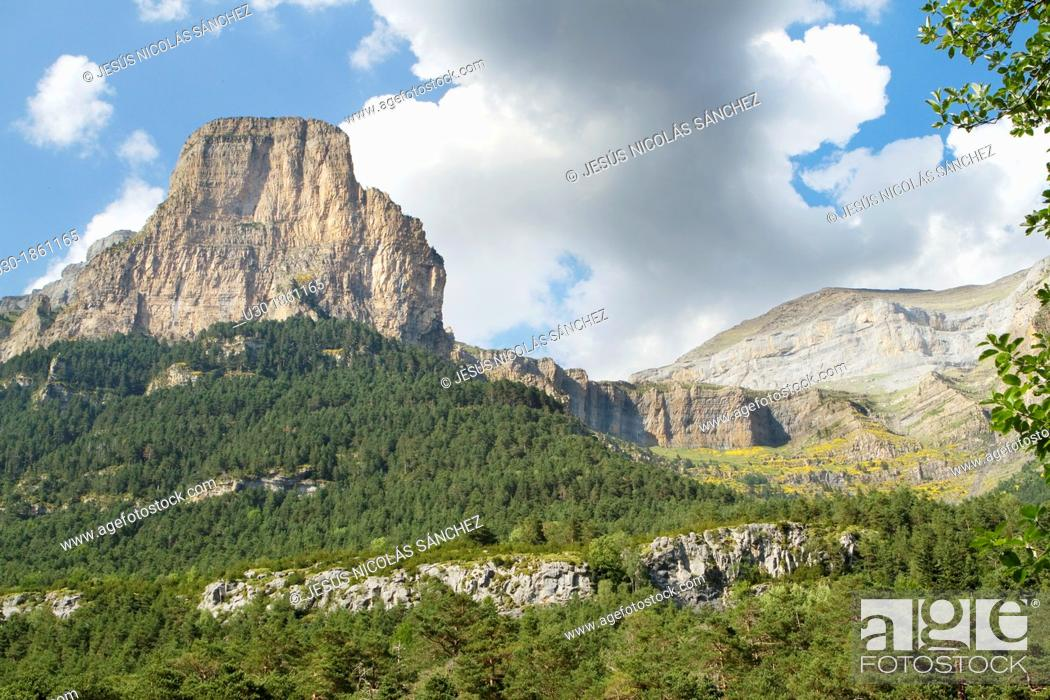 Stock Photo: Tozal del Mallo in Ordesa Valley, declarated World Heritage by UNESCO, and belonging to Ordesa y Monte Perdido National Park  Pyrenees  Torla  Huesca province.