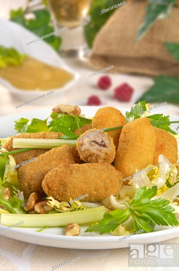 Stock Photo: Morcilla blood sausage croquettes and Cabrales cheese croquettes.
