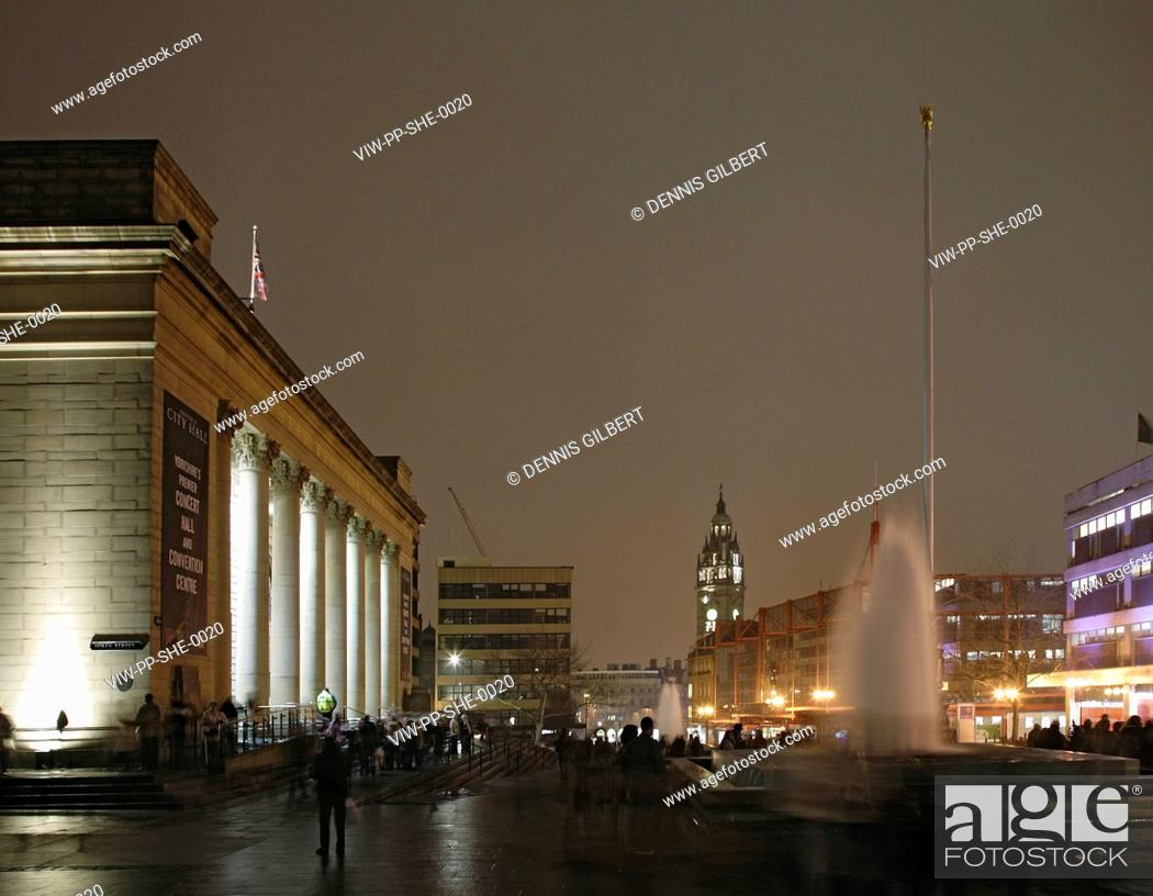 Stock Photo: SHEFFIELD CITY HALL, SHEFFIELD, UNITED KINGDOM, Architect PENOYRE AND PRASAD.