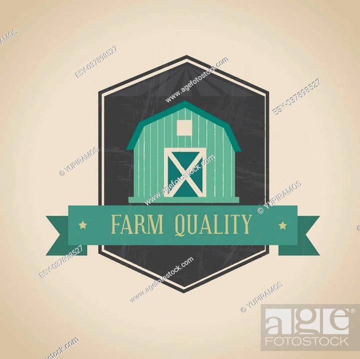 Stock Vector: farm fresh label over beige background vector illustration.